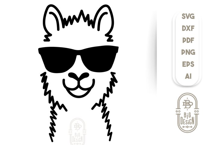 LLAMA SVG CUT FILE - Lama Head Svg Illustration & sunglasses