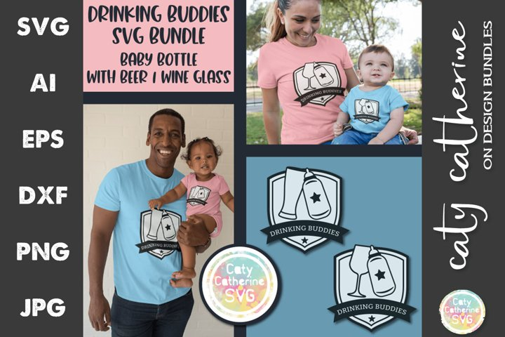 Drinking Buddies Bundle Baby Bottle Beer Wine SVG Cut File