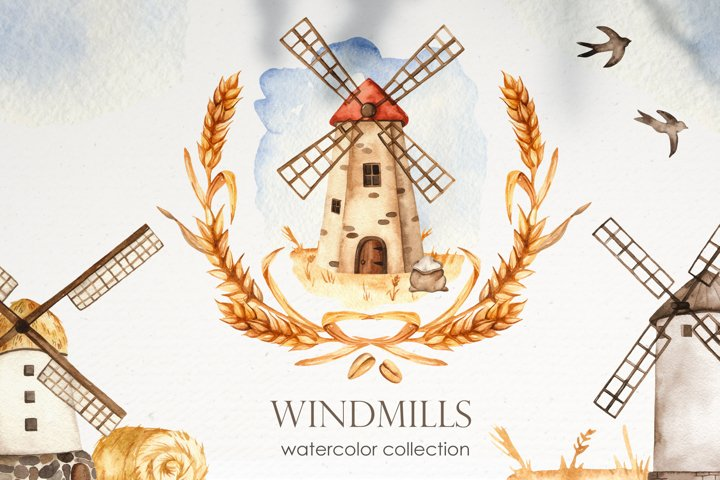 Watercolor Windmills. Cards, frames, wreaths, patterns