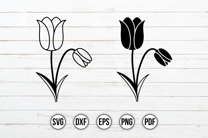 Tulips SVG, Flower SVG, Floral Clipart