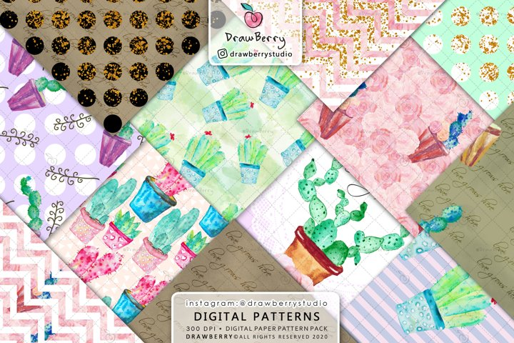 Watercolor Cactus Digital Paper Pack