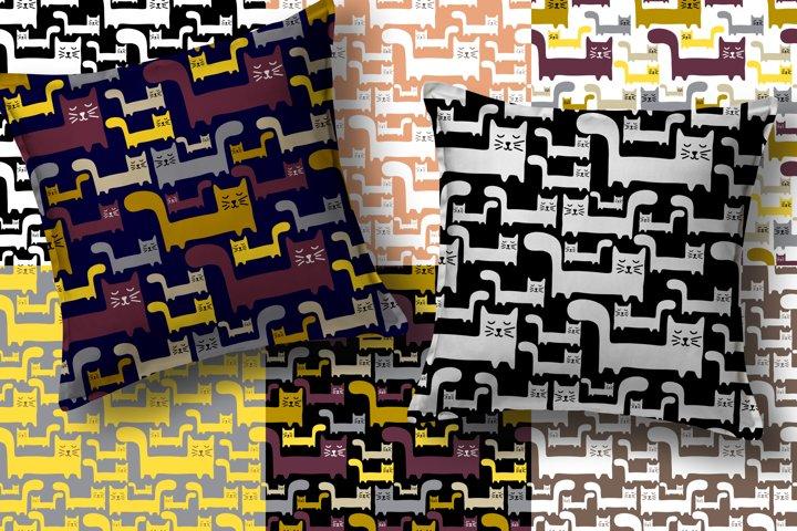 Seamless patterns with cartoon cat
