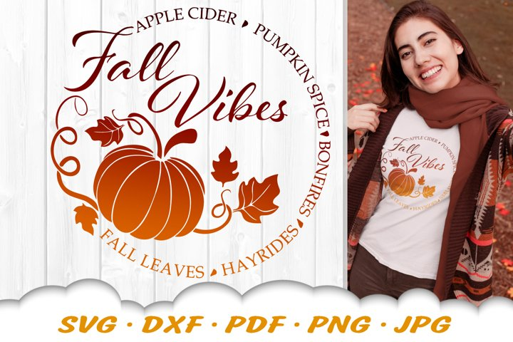 Fall Vibes Pumpkin SVG DXF Cut Files