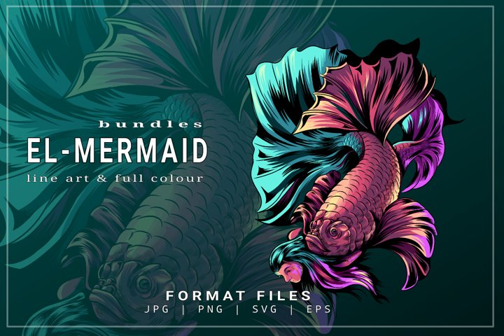 vector illustration of fish and MERMAID perfect designs