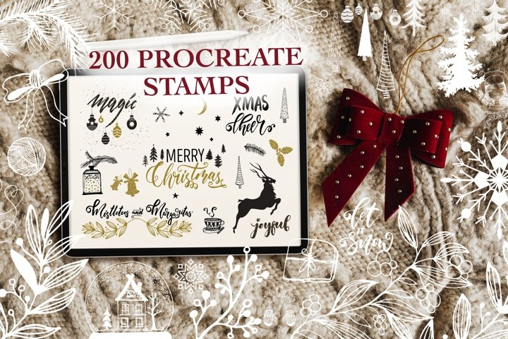 Huge Christmas Stamp Brush Pack for Procreate App!