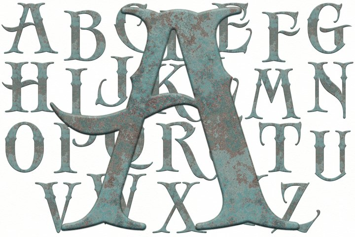Old English Alphabet and Numbers, Rustic Alphabet, Rusty ABC
