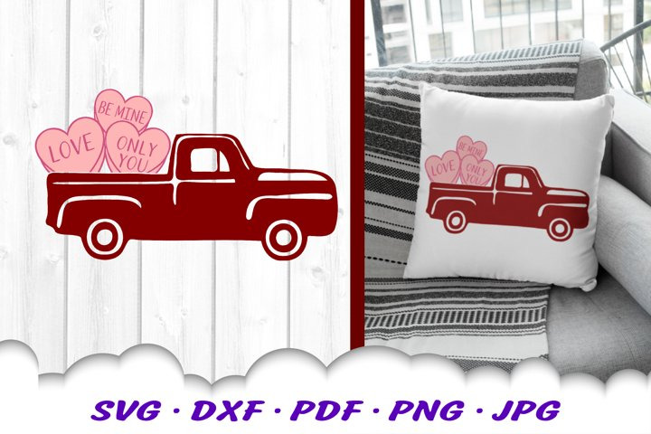 Valentines Truck Candy Hearts SVG DXF Cut Files