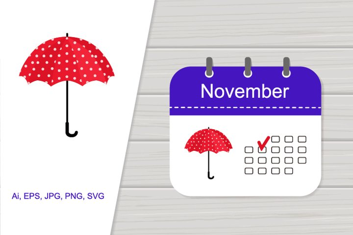 Illustration icon calendar November with pattern