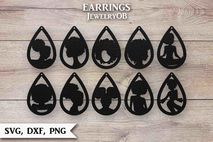 Afro Lady Earrings Bundle, Cut File, SVG DXF PNG, Teardrop