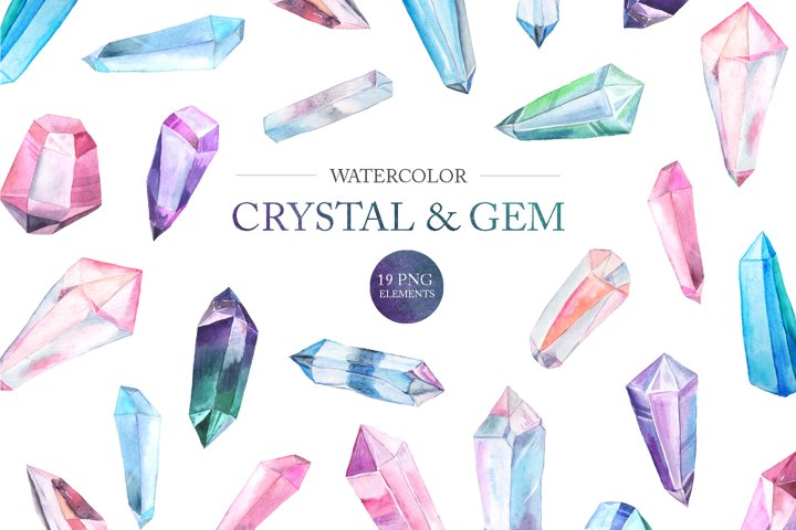 Watercolor Gem and Crystals Set