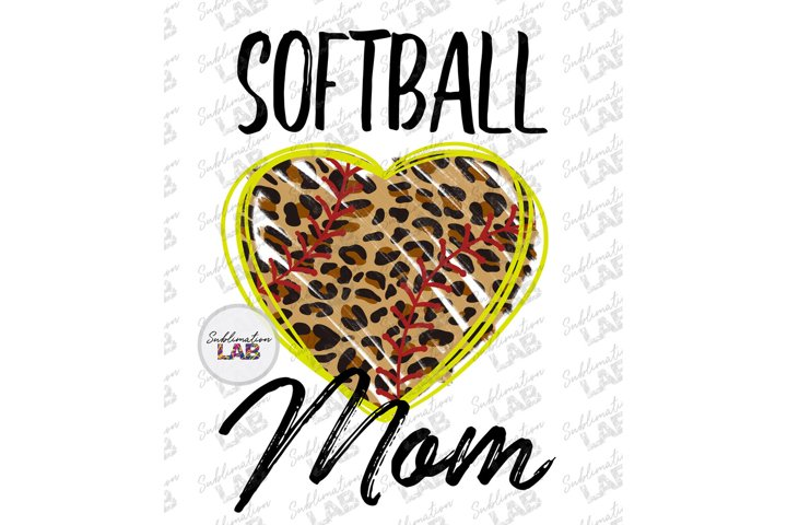 Softball Mom Leopard Sublimation Design Leopard Softball