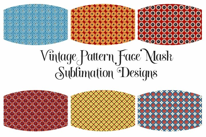 Face Mask Sublimation Designs Retro Circle Pattern PNG Files