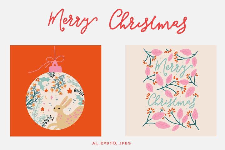 Set of 2 Christmas folk art vintage card