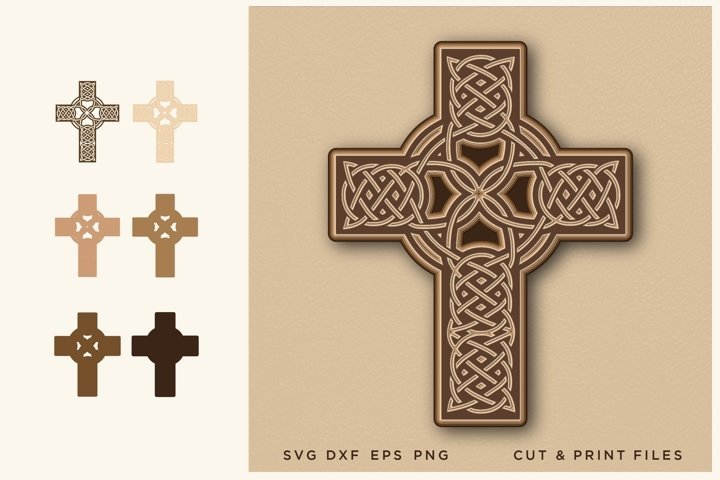 Celtic Cross SVG, Cut file, Multilayer, 3D Vector