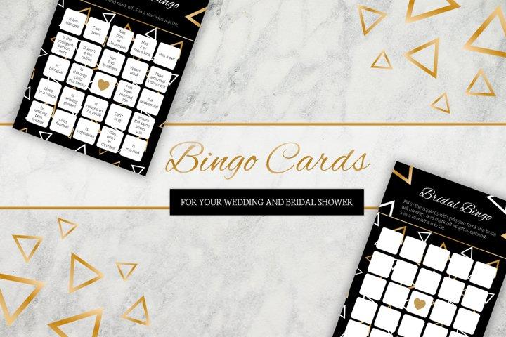 Stylish geometry bingo cards for wedding and bridal shower