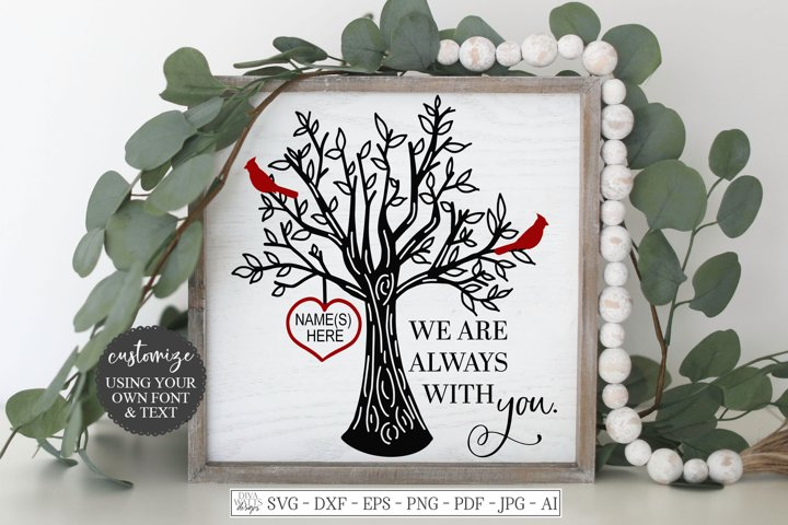 We Are Always With You - Red Cardinal Tree Heart - Customize