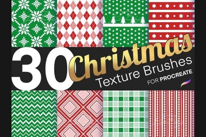 30 Procreate Christmas Brushes Set, Xmas Seamless Texture