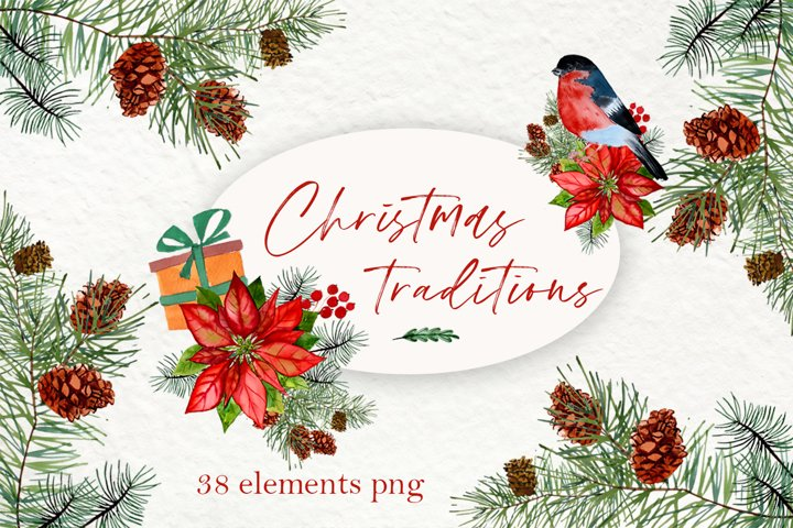 Forest Christmas Watercolor Clipart