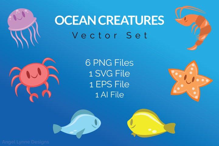 Ocean Creatures Vector Set