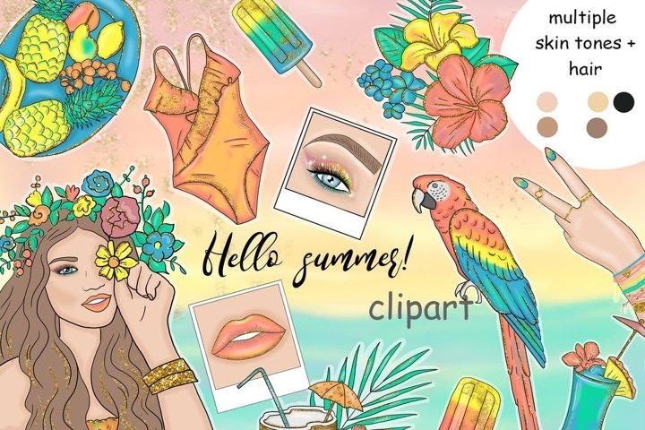 Hello Summer CLIPART Summer Clipart Tropic Lady Planner PNG