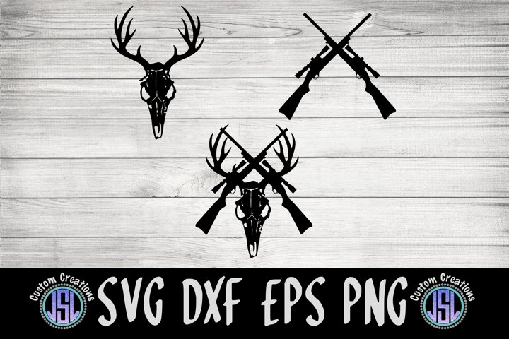 Deer Skull Set of 3 Bundle |Dad SVG | SVG DXF EPS PNG