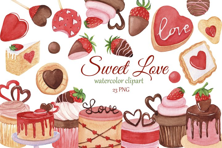 Sweet Love watercolor clipart, Valentines Day clip art