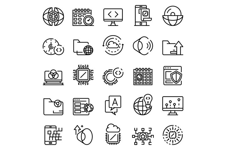 Operating system icons set, outline style