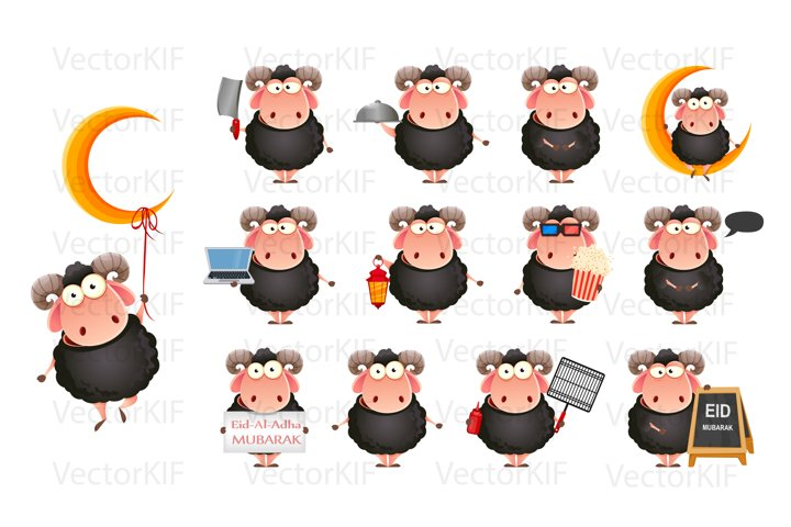Happy cartoon character Ram for Eid Al-Adha