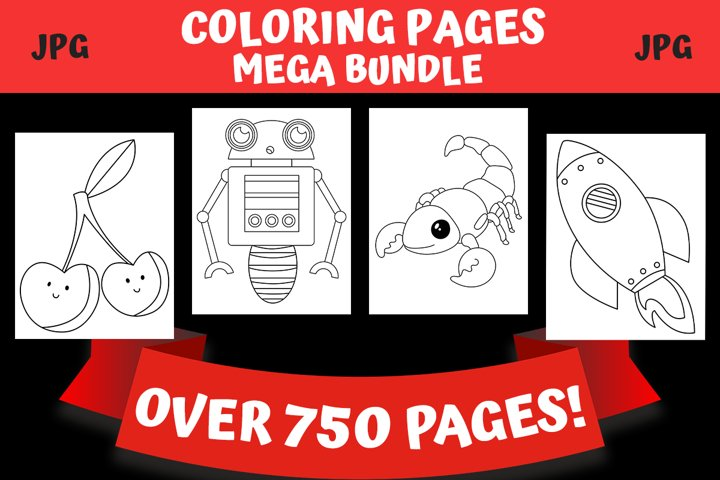 Coloring Pages For Kids Mega Bundle - Over 750 Pages