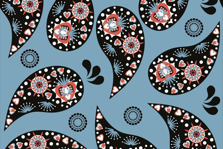 Vector Paisley seamless pattern EPS