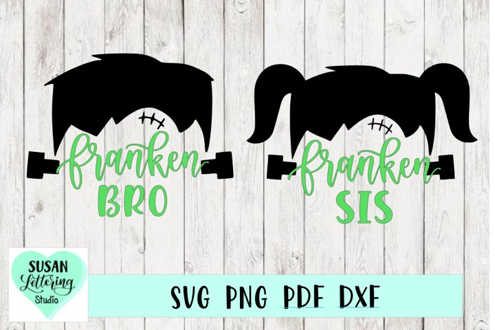 Franken Bro, Franken Sis SVG, Halloween, brother and sister