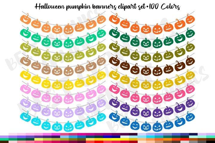 100 Halloween pumpkin bunting banners clip art, Garland