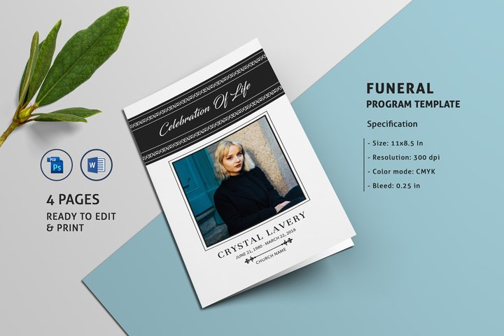 Funeral Program Template - Ms Word & Photoshop Template