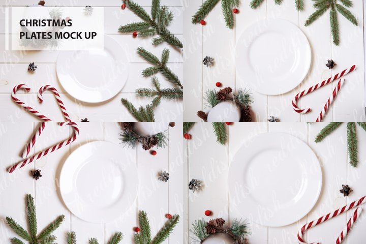 4 White Plate Mock-up, Christmas decorations, candles, tree