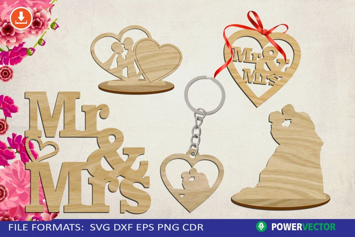 Mr and Mrs Svg, Wedding Couple Laser Cut File