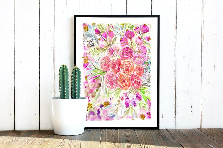 Watercolor florals painting, Digital Art Print download