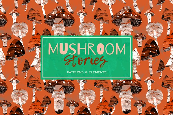 mushrooms fly agaric pattern