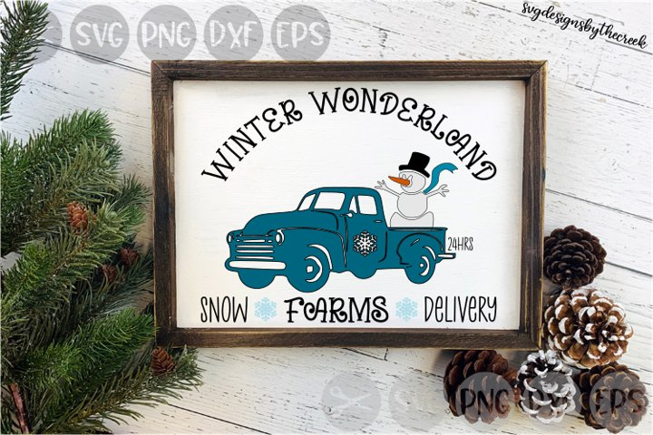 Winter Wonderland Farms, Truck, Snowman, Cut File, SVG