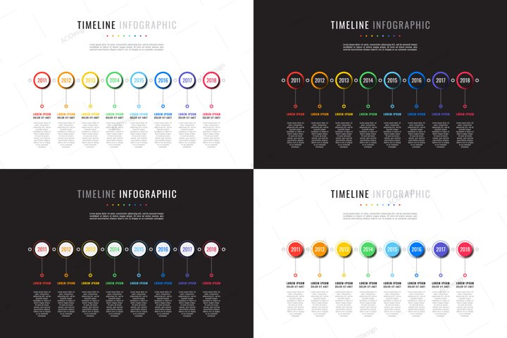 Set of 4 horizontal timeline templates with 8 round elements