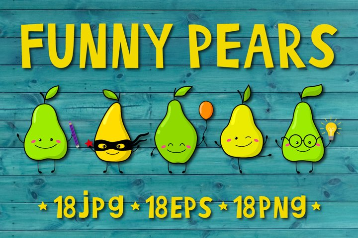 Set of funny vector pears