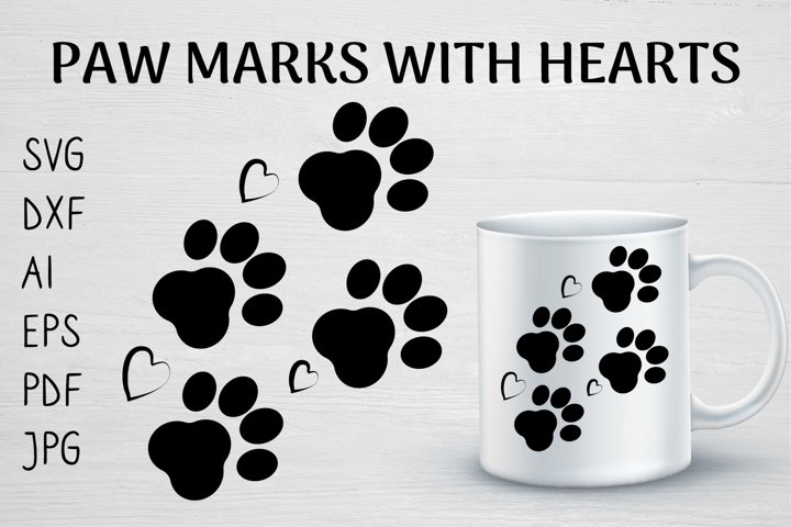 PAW MARKS WITH HEARTS DOG LOVER SVG PNG