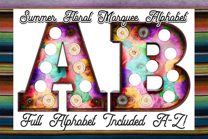 Summer Floral Marquee Alphabet Sublimation Download