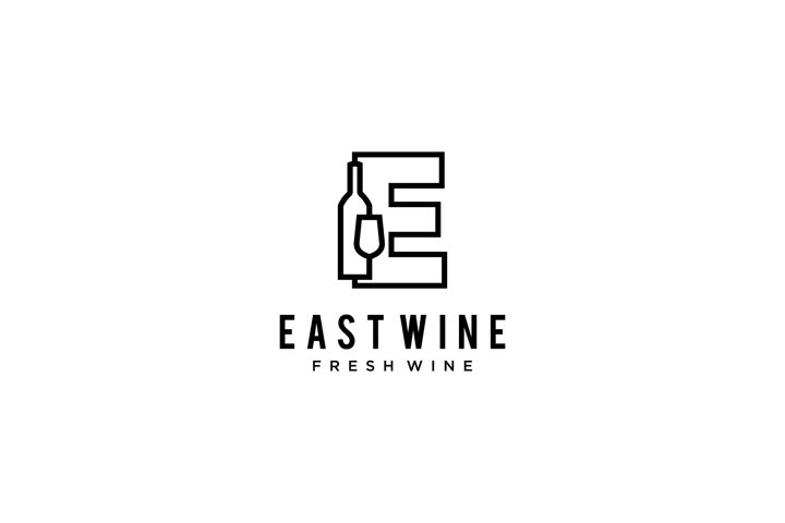 E wine glass bottle sign