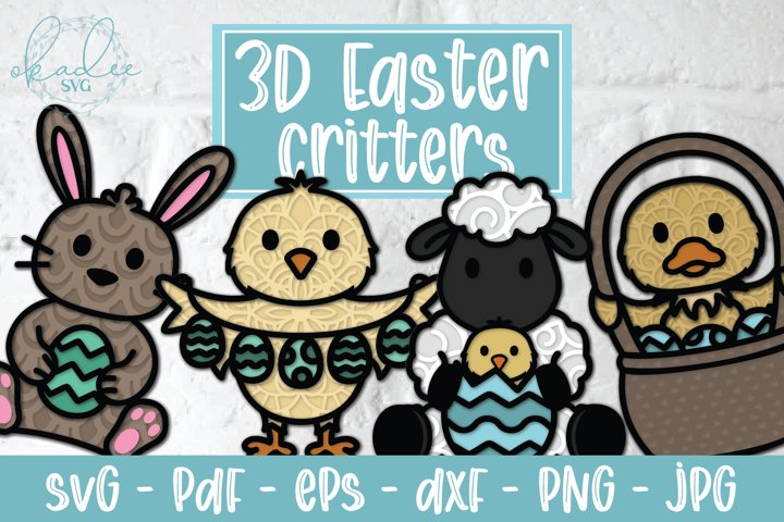 3D Easter Critters Bundle, Papercut Easter SVG, Easter Bunny