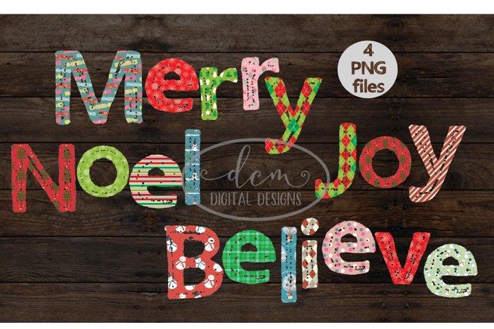 Merry Believe Joy Noel patterned PNG designs