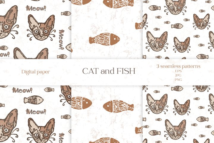 Seamless pattern Funny cat and fish
