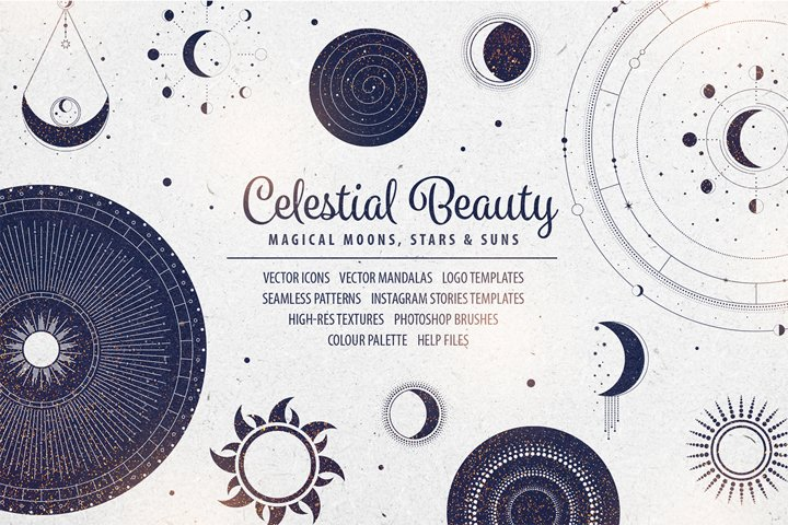Celestial Beauty Graphic Design Elements