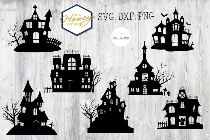 Haunted House Bundle DXF SVG PNG Halloween Cut Files