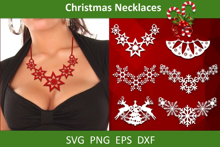 6 Leather Christmas necklaces templates svg