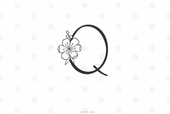 Floral letter svg cut file